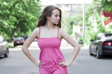 attractive  brunette woman at the street
