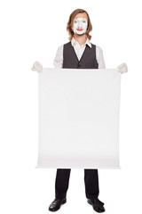 mime actor shows a white sheet