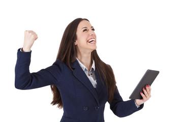 executive woman celebrating success