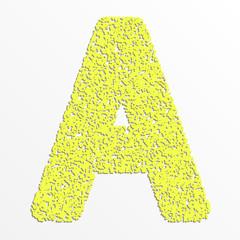 Vector multi color alphabet with grain texture, letter A