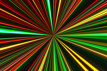 Bright concentric color lines on black