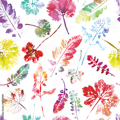 Naklejka crazy beautiful watercolor pattern of leaves.