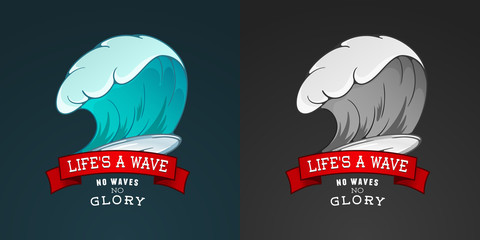 Colored vector Surfing illustration or emblem with lettering