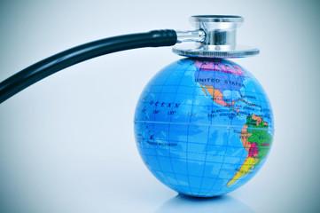 stethoscope on a terrestrial globe