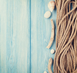 Sea vacation background with marine rope