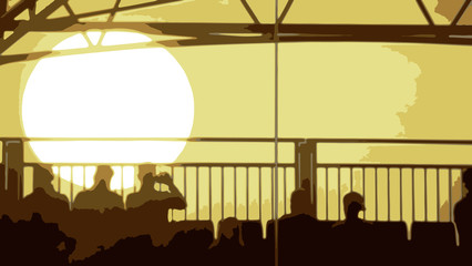 Vector of an Evening Sunset with People Sitting in the foregroun