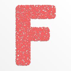 Vector multi color alphabet with grain texture, letter F
