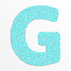 Vector multi color alphabet with grain texture, letter G