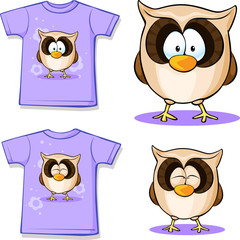 cute owl printed on shirt
