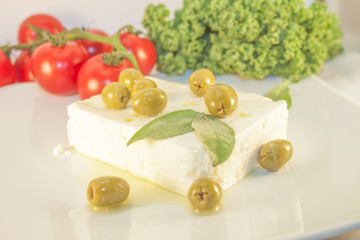 Feta cheese and green olives
