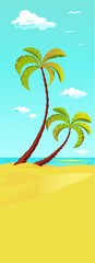 palm tree on beach - vertical banner design