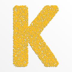 Vector multi color alphabet with grain texture, letter K
