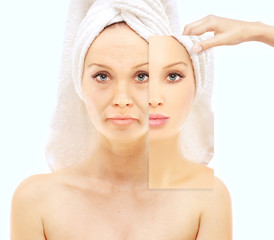 Aging process.Middle-aged woman and young woman, skin care conce