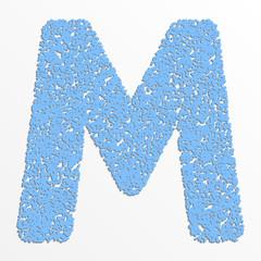 Vector multi color alphabet with grain texture, letter M