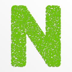 Vector multi color alphabet with grain texture, letter N