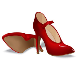 Red shoes for women. Vector illustration
