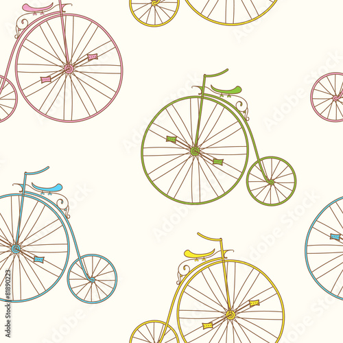 Seamless pattern vintage bicycles. © yulia337