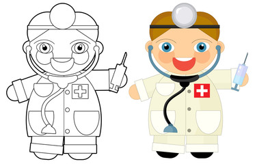 Cartoon character - doctor - coloring book