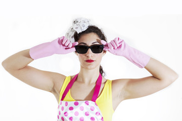 portrait of pretty housewife with sunglasses