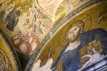 Jesus Christ Pantocrater.Church of Chora, Kariye, Istanbul