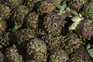 Background of ripe fresh artichokes