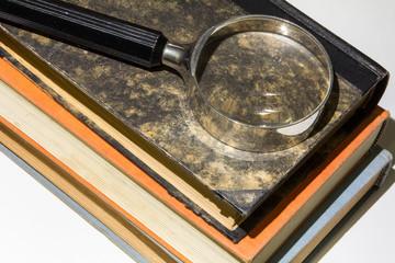 Bücher mit Lupe