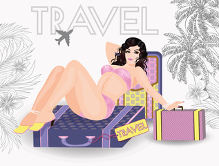 Summer travel sexy pin up young girl, vector illustration
