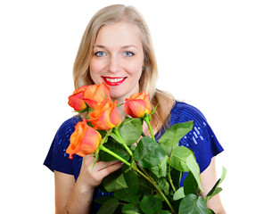 blonde woman holding bunch of roses