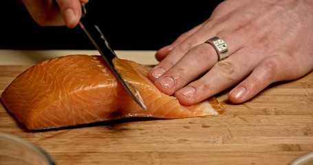 Cooking Rolls - cuting salmon 3