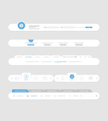 Flat website navigation elements with banners and concept icons
