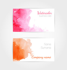 Set of watercolor vector business cards template