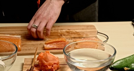 Cooking Rolls - cuting salmon 2