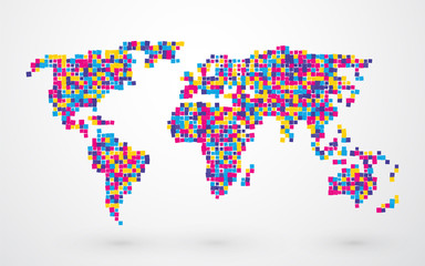 world map made of different colored squares