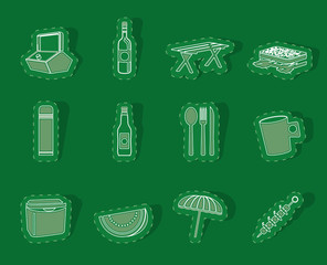 Picnic and holiday icons - vector icon set
