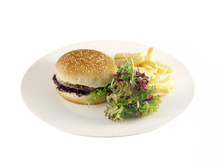 hamburger with barbecue sauce
