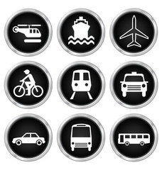 Black transport related icon set