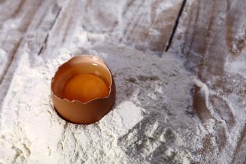 Chopped egg in flour