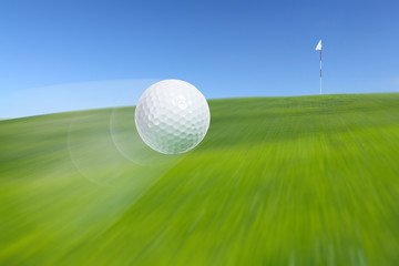 Flying golf ball