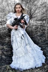 Bride with gun.