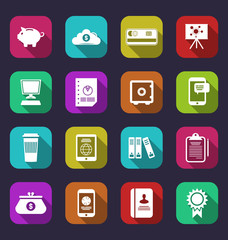 Colorful business and office objects, flat icons with long shado