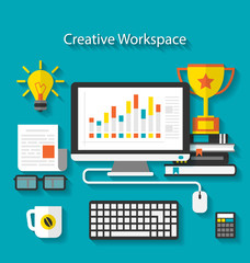 Flat icons of trendy business objects with long shadows