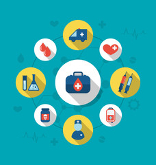 Set trendy flat icons of medical elements and objects