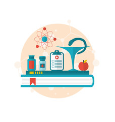 set flat icons of objects medicine laboratory, concept of health