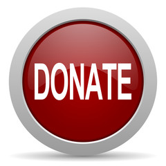 donate red glossy web icon