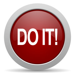 do it red glossy web icon