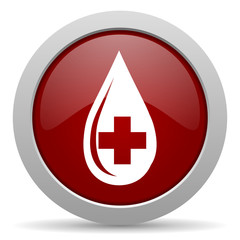 blood red glossy web icon