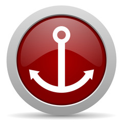 anchor red glossy web icon