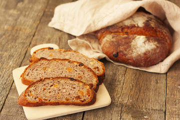 rustic bread with raisins, chopped into slices