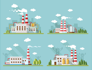 Industrial landscape set - industry factory. Flat style vector i