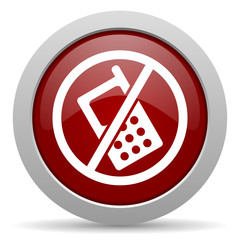 no phone red glossy web icon